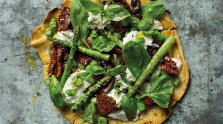 Socca Pizza with Char-Grilled Asparagus, Olives & Ricotta