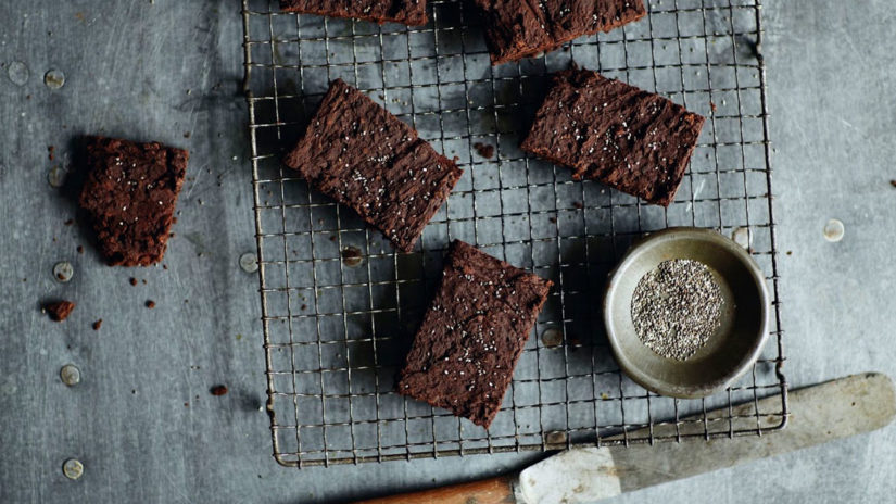 Prepared Black Bean Brownies with Chia Seeds
