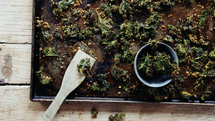 Prepared Cheesy Kale Crisps With Lime
