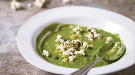 Watercress and Pea Soup with Mint and Onion Popcorn
