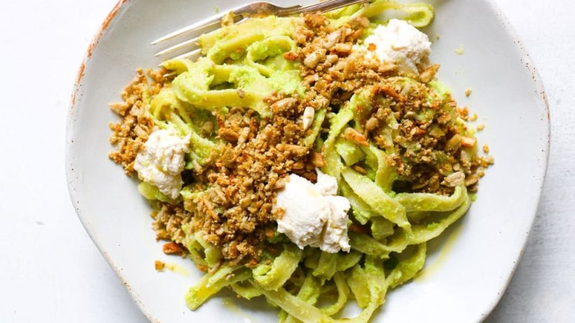 Prepared Winter Pesto Pasta with Vegan Cheesy Sunflower Crumb